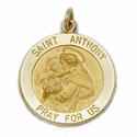 """3/4"""" 14K Gold Large Round St. Anthony Medal, Patron of Lost Articles"""