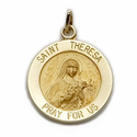 """5/8"""" Diameter 14K Gold Round St. Theresa Medal, Patron of Aviation, Missions"""
