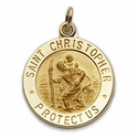 """5/8"""" 14K Gold Round St.Christopher Medal With Polished Border"""
