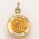 Small 14K Gold  Round Guardian Angel Medal