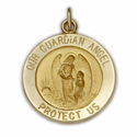 14K Gold Round Guardian Angel Medal