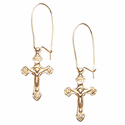 "5/8"" 14 Karat Gold Crucifix Earrings"