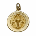 "7/16"" Small 14K Gold Round First Communion Medal"