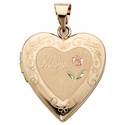 """1"""" 14 Karat Gold Locket with Mom Etched in the Heart"""