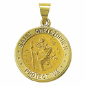 """3/4"""" 14K Gold Round St. Christopher Medal, Patron of Travellers (Hollow Medal)"""