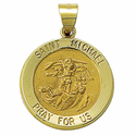"3/4"" 14K Gold Round St. Michael Medal, Patron of Policemen (Hollow Medal)"