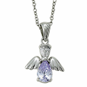 """Sterling Silver June Alexandrite Birthstone Angel Wing Necklace on 18"""" Chain"""