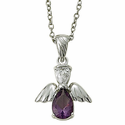 """Sterling Silver February Amethyst Birthstone Angel Wing Necklace on 18"""" Chain"""