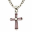 "Sterling Silver February Amethyst Birthstone Baby Cross Necklace on 13"" Chain"