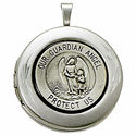 Sterling Silver Polished Guardian Angel Locket Necklace