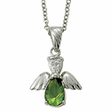 """Sterling Silver August Peridot Birthstone Angel Wing Necklace on 18"""" Chain"""
