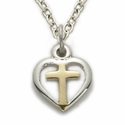 Sterling Silver Baby 2-Tone Heart with Cross