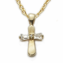 "Sterling Silver 14K Gold Finished Baby Cross Necklaces in a CZ Baquette Stone Design on 13"" Chain"