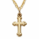 10K Gold Filled Cross Necklace in a Budded Design