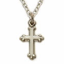 "Sterling Silver Budded Baby Cross Necklace on 13"" Chain"