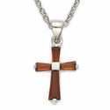 Sterling Silver Birthstone January Garnet Baguette Cross Necklaces