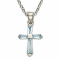 "Sterling Silver Birthstone March Aquamarine Baguette Cross Necklace on 16"" Chain"