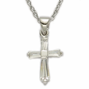 "Sterling Silver Birthstone April Crystal Baguette Cross Necklace on 16"" Chain"