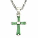 "Sterling Silver Birthstone May Emerald Baguette Cross Necklace on 16"" Chain"