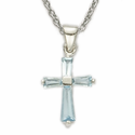 "Sterling Silver Birthstone December Zircon Baguette Cross Necklace on 16"" Chain"