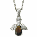"""Sterling Silver January Garnet Birthstone Angel Wing Necklace on 18"""" Chain"""