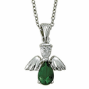 """Sterling Silver May Emerald Birthstone Angel Wing Necklace on 18"""" Chain"""