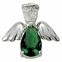 Sterling Silver May Emerald Birthstone Angel Wing Pin