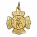 "3/4"" 14K Gold Small Shield  St. Florian Patron of Fire Fighters"