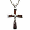 """Sterling Silver January Birthstone Crucifix on 18"""" chain"""