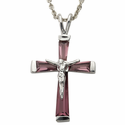 """Sterling Silver February Birthstone Crucifix on 18"""" chain"""
