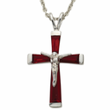 """Sterling Silver July Birthstone Crucifix on 18"""" chain"""