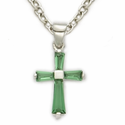 Sterling Silver Baby Birthstone Crosses