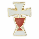 """1/2"""" x  3/8""""  White  Cross with Red Cup Enameled Lapel Pin"""