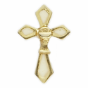 """3/4"""" x 1/2"""" Gold/White Lapel Cross with Chalice Pin"""