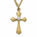 24K Gold Over Sterling Silver CZ Stone Crosses