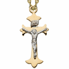 """Sterling Silver 24K Gold Finish Two Tone Crucifix on 18"""" Chain"""