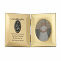 """8"""" x 5"""" Granddaughter's First Communion Hinged Gold Plated Metal Photo Frame with Kneeling Girl"""