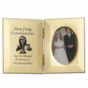 """8"""" x 5"""" First Holy Communion Hinged Gold Plated Metal Photo Frame with Chalice"""