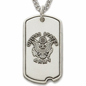 Sterling Silver U.S. Army  Dog Tag with Cross on Back