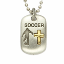 """Lead Free Pewter Soccer Dog Tag on 24"""" Stainless Steel Chain"""