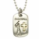"""Lead Free Pewter Baseball Dog Tag on 24"""" Stainless Steel Chain"""