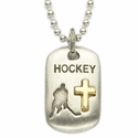 """Lead Free Pewter Hockey Dog Tag on 24"""" Stainless Steel Chain"""