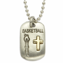 """Lead Free Pewter Basketball Dog Tag on 24"""" Stainless Steel Chain"""