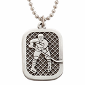 """Lead Free Pewter Ice Hockey Dog Tag on 24"""" Stainless Steel Chain"""