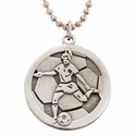 """Lead Free Pewter Soccer Dog Tag on 22"""" Stainless Steel Chain"""