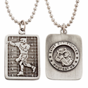 """Lead Free Pewter Football Dog Tag on 22"""" Stainless Steel Chain"""