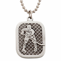 """Lead Free Pewter Ice Hockey Dog Tag on 22"""" Stainless Steel Chain"""