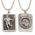 """Lead Free Pewter Lacrosse Dog Tag on 22"""" Stainless Steel Chain"""