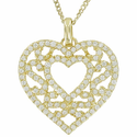 """Sterling Silver 14K Gold  Plated Filigree Heart Necklace on 18"""" Gold Plated Chain"""