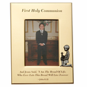 """5"""" x 7"""" First Holy Communion Gold Plated Metal Photo Frame with Kneeling Boy"""